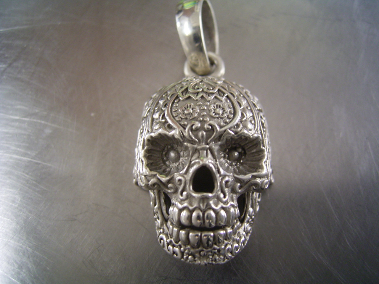 tattoocandy sugar gold cartergore pendant products with flowers skull